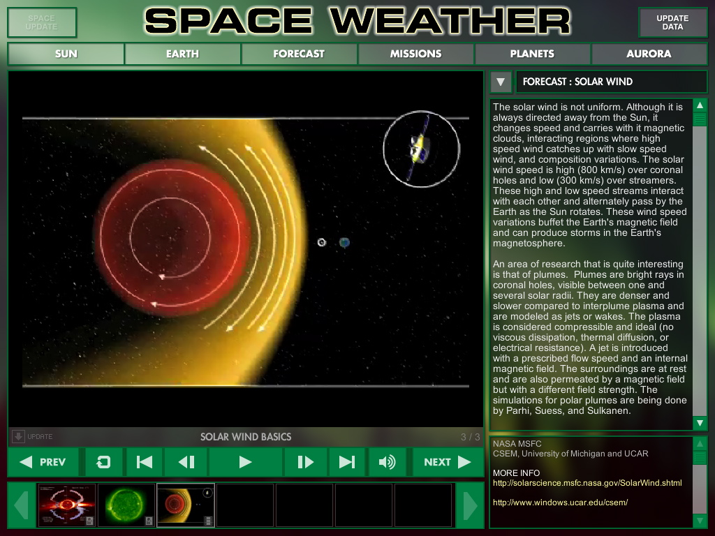SPACE WEATHER sample screen